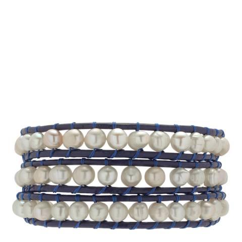 Nova Pearls Copenhagen Navy/White Freshwater Pearl Cuff Bracelet 7mm