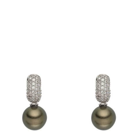Nova Pearls Copenhagen Olive Pearl/Crystal Drop Earrings 10mm