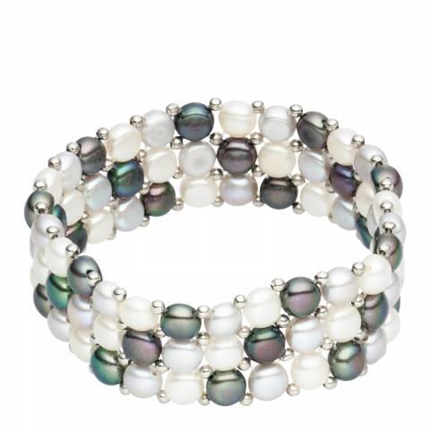 Nova Pearls Copenhagen White/Silver/Blue Fresh Water Cultured Pearl Bracelet