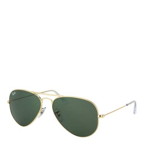 Ray-Ban Unisex Gold Aviator Sunglasses 55mm
