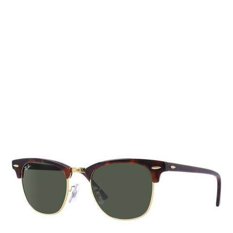 Ray-Ban Unisex Dark Brown/Green Clubmaster Sunglasses 49mm