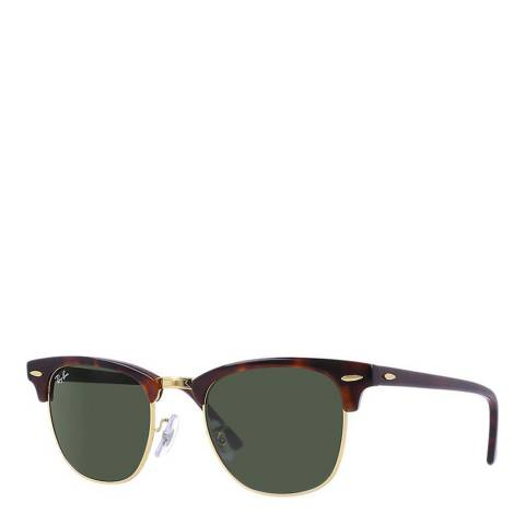 Ray-Ban Unisex Dark Brown/Green Clubmaster Sunglasses 51mm