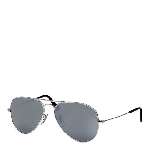 Ray-Ban Unisex Silver/Grey Mirrored Aviator Sunglasses 55mm