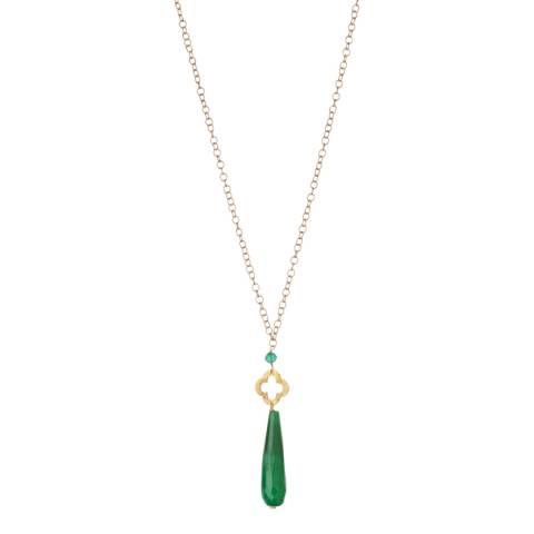 Liv Oliver Gold/Green Jade Clover Pendant Necklace