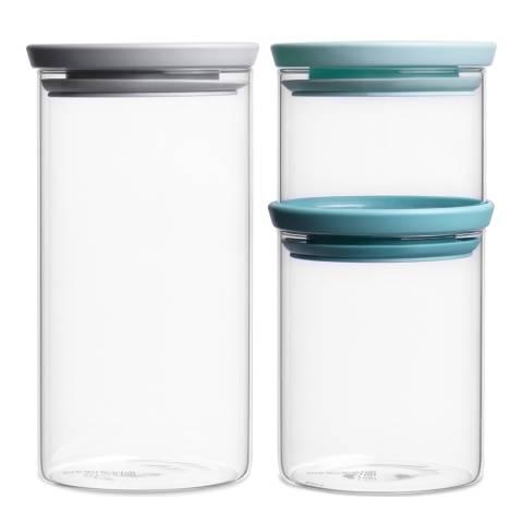 Brabantia Set of 3 Stackable Glass Jars