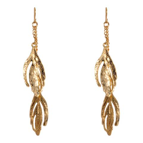 Amrita Singh Gold Tone Midi Leaf Drop Earrings