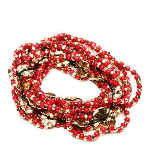 Amrita Singh Eleven Piece Gold/Red Amelie Bracelet Set
