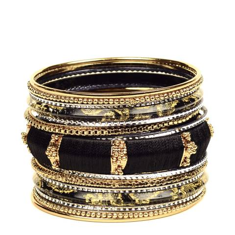 Amrita Singh Black and gold bangle set