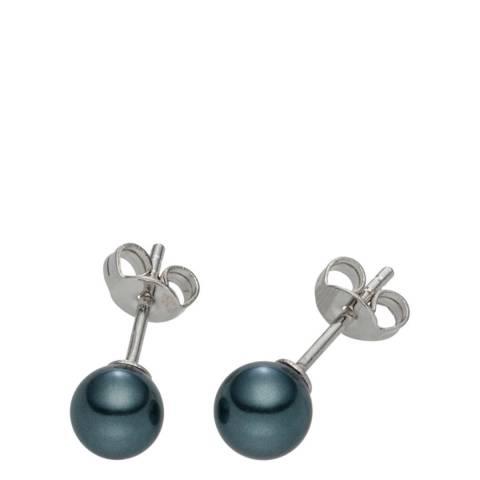 Pearls of London Dark Blue Pearl Stud Earrings