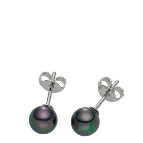 Pearls of London Dark Grey/Silver Pearl Stud Earrings