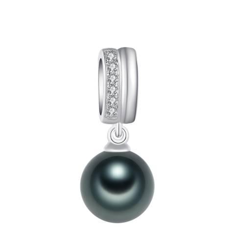 Pearls of London Dark Green/Silver Zirconia/Pearl Pendant