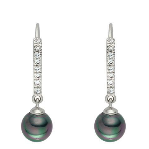 Pearls of London Silver/Dark Green Pearl/Crystal Creole Hoop Earrings