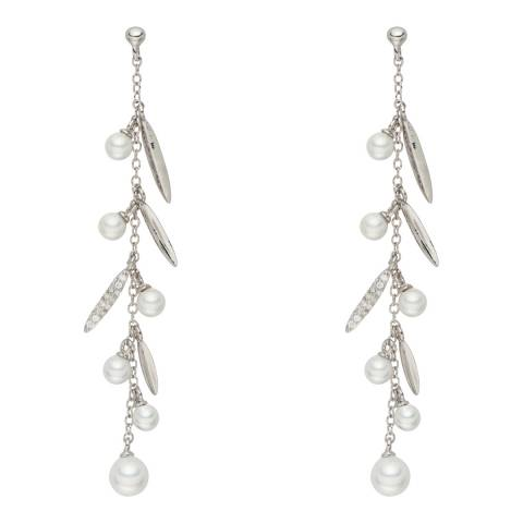 Pearls of London White/Silver Pearl Leaf Drop Earrings
