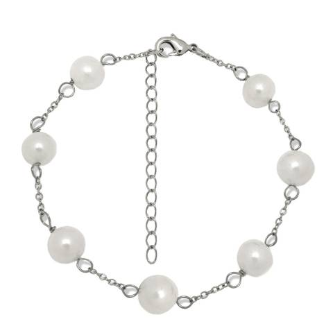 Pearls of London Silver/White Pearl Chain Bracelet
