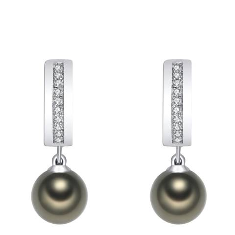 Pearls of London Tahiti/Silver Zirconia/Pearl Creole Earrings