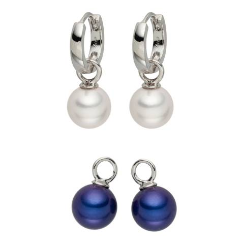 Pearls of London Set of Two White/Blue Pearl Creole Earrings
