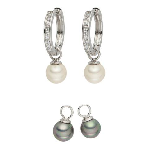 Pearls of London Set of Two White/Grey Zirconia/Pearl Creole Earrings