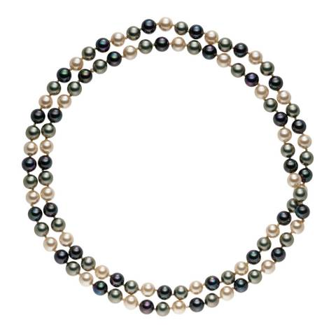 Pearls of London Dark Grey/Grey Pearl Long Necklace