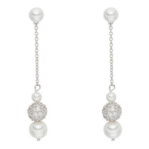 Pearls of London White/Silver Pearl/Crystal Chain Drop Earrings