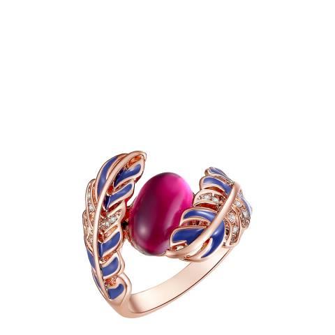 Lilly & Chloe Rose Gold/Pink Swarovski Crystal Elements Leaf Ring