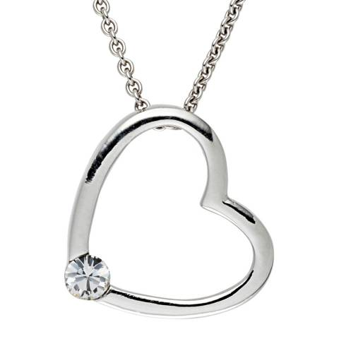 Saint Francis Crystals Silver Open Heart Crystal Necklace