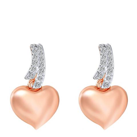 Saint Francis Crystals Silver/Rose Gold Heart Crystal Earrings