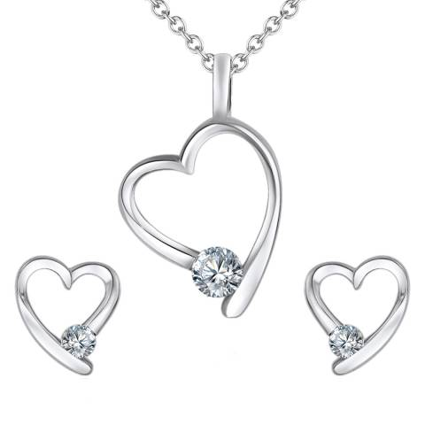 Saint Francis Crystals Rhodium Plated Set of Heart Shaped Necklace and Earrings