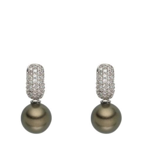 Pearls of London Silver/Green Organic Pearl/Zirconia Creole Hoop Earrings 8mm
