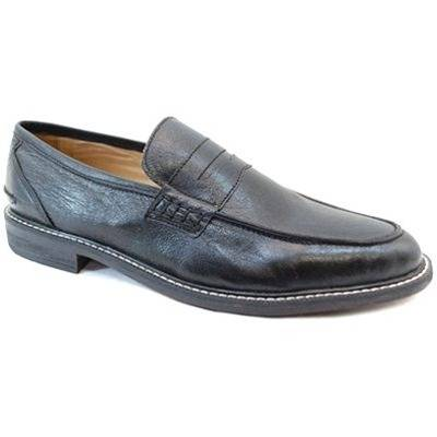 Harrykson Black Leather Penny Loafers