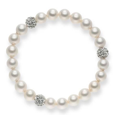Nova Pearls Copenhagen White/Silver Organic Pearl/Zirconia Bracelet 8mm