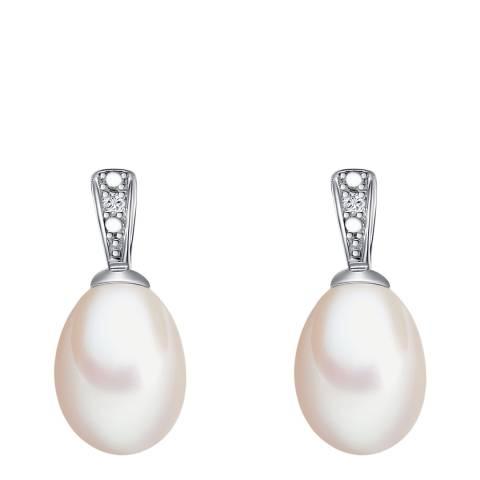 Tess Diamonds Silver Diamond Pearl Loop Drop Stud Earrings