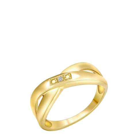 Tess Diamonds Gold Cross Over Diamond Ring