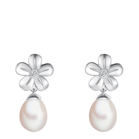 Tess Diamonds Silver Diamond/Pearl Flower Drop Stud Earrings 9mm