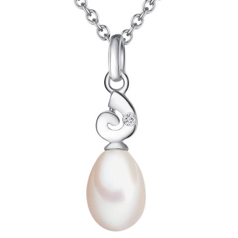 Tess Diamonds Sterling Silver Diamond And Pearl Drop Necklace