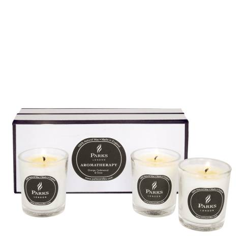 Parks London Set of Three Orange/Cedarwood/Clove Scented Candles