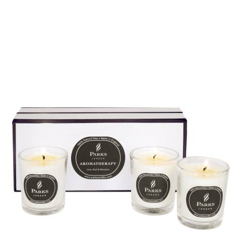 Parks London Set of Three Lime/Basil/Mandarin Scented Candles