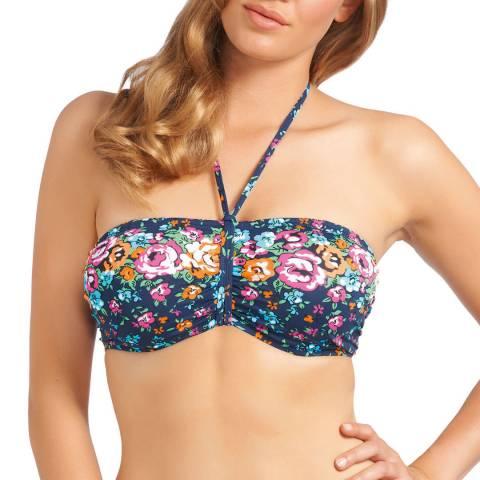 Freya Deep Blue/Multicolour Memphis Floral Print Bandeau Bikini Top