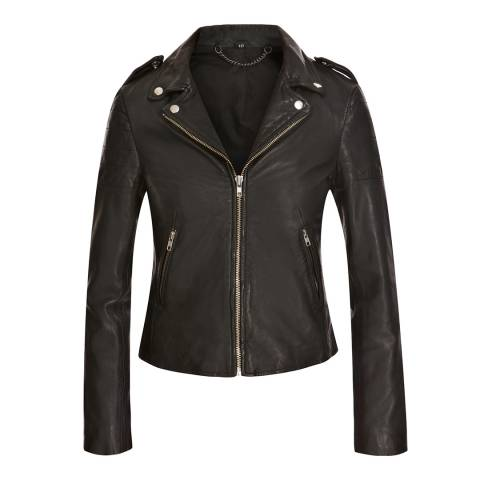Muubaa Black Presley Leather Biker Jacket