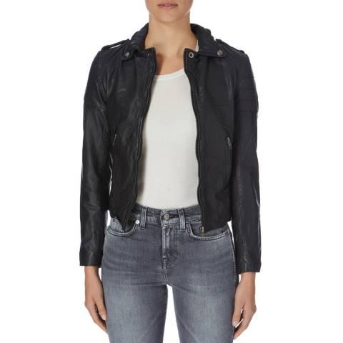 Muubaa Black Presley Leather Biker Jacket
