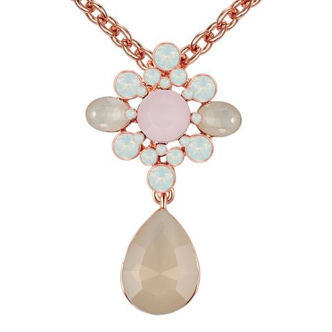 Lilly & Chloe Rose Gold/White Swarovski Crystal Elements Floral Necklace