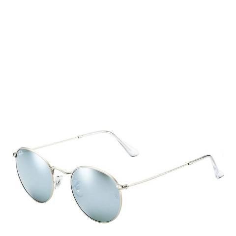 Ray-Ban Unisex Silver/Light Blue Mirrored Round Metal Sunglasses 50mm