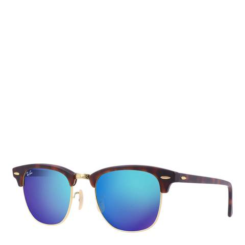 Ray-Ban Unisex Brown Tortoiseshell/Blue Mirrored Clubmaster Sunglasses 49mm