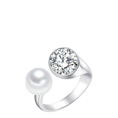 Pearls of London Silver/White Pearl/Crystal Sphere Ring 8mm