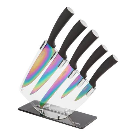 Tower 5 Piece Black/Silver Knife Block Set