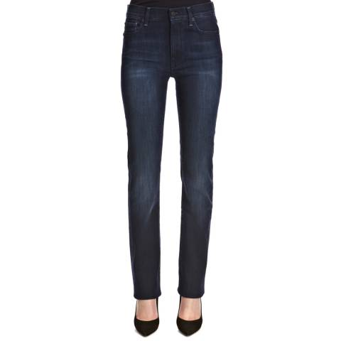 7 For All Mankind Dark Blue High Waisted Slim Leg Stretch Jeans