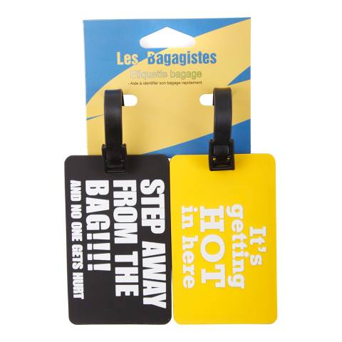 Les Bagagistes Set of Two Black Luggage Tags