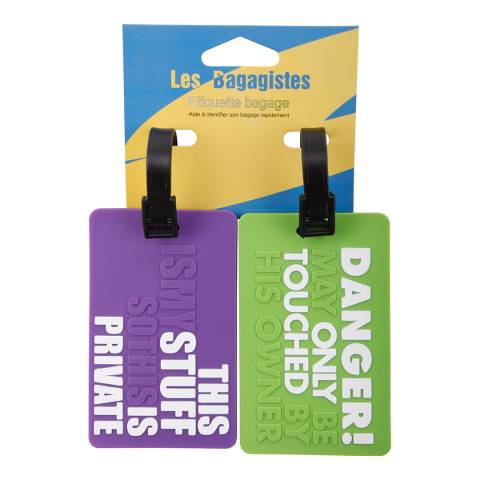 Les Bagagistes Set of Two Violet/Green Luggage Tags