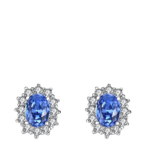 Lilly & Chloe Silver/Blue Swarovski Crystal Elements Oval Stud Earrings