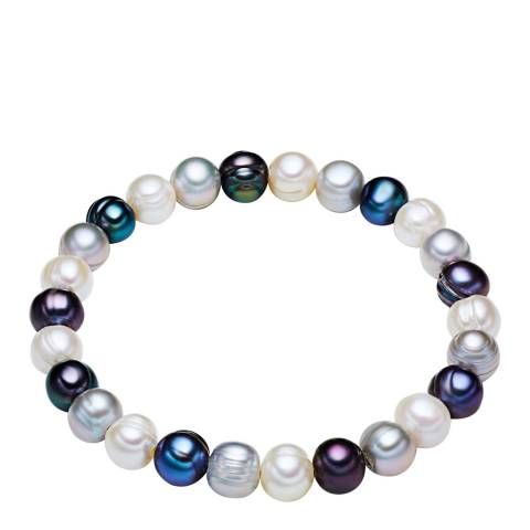 The Pacific Pearl Company White/Blue Silver Fresh Water Cultured Pearl Bracelet