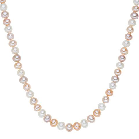 The Pacific Pearl Company Orange/Pale Pink Sterling Silver Fresh Water Cultured Pearl Necklace